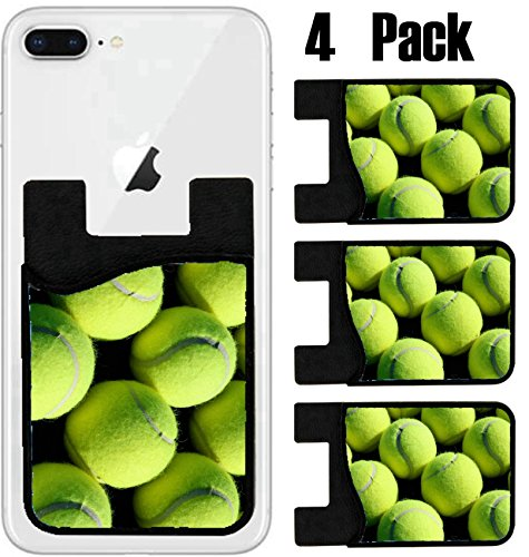 (MSD Phone Card holder, sleeve/wallet for iPhone Samsung Android and all smartphones with removable microfiber screen cleaner Silicone card Caddy(4 Pack) Rows of Tennis Balls IMAGE 23726774)