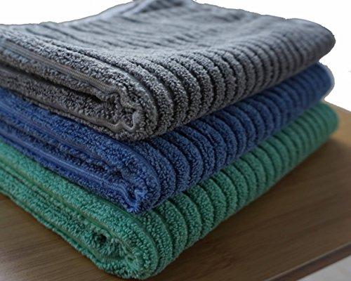 Gryeer paños de cocina de bambú y microfibra, súper absorbentes grande y grueso plato secado toallas, un lado acanalado un lado suave de microfibra paños de ...