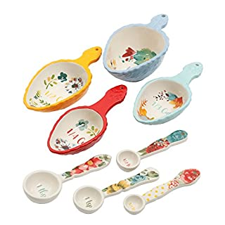 The Pioneer Woman Willow 8 Piece Measuring Scoops and Measuring Spoons Ceramic Floral