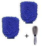 #10: Bingcute 2 Packs Microfiber Car Wash Mitt With Wheels Brush for Car ,Home Dusting Microfiber Gloves