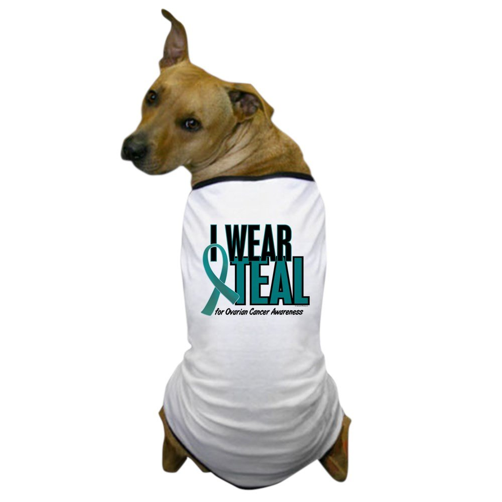Medium CafePress I Wear Teal for Awareness 10 Dog T-Shirt Dog T-Shirt, Pet Clothing, Funny Dog Costume
