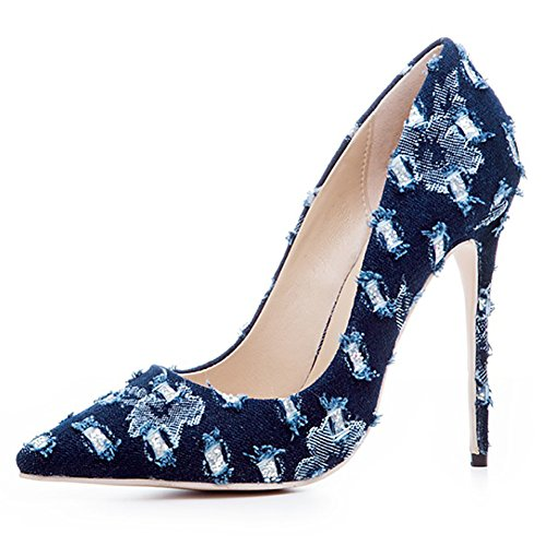 Wear High Pointed Pumps Usual Women's Match Toe Blue Flower amp;1012 Heel Shoes Denim Thin BA55xqzwR