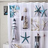 SHZONS™ Square Waterproof Polyester Fabric Bathroom Shower Curtains, Include a 12 Hooks Set(Type:A)
