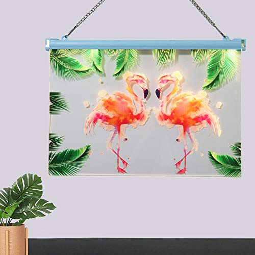 - Oycbuzo Light Up Marquee Flamingo Wall Art Sign - Flamingo and and Palm Tree Prints Plaque Hanging Sign with LED Lights - Tropical Lamp for Home Office Girls Bedroom Wall Decoration