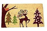 Home Garden Hardware 33208 Reindeer Printed Coir Doormat,Natural,Small
