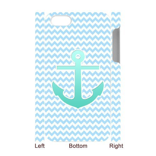 Cooliphone4Cases.com-2832-iPhone 4s Case, Hard Back Cover for iPhone 4s with Teal Blue Chevron Anchor Phone case Design-B01KX0L1JK-T Shirt Design