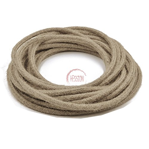 HESSION 32.8ft 18/2 Round Electric Rope Light Cord, Antique Industrial Electrical Wire,Natural Hemp Rope Covered Wire Vintage Style Lamp Cord Strands