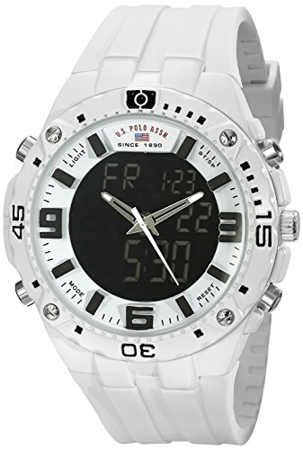 U.S. Polo Assn. Sport Men's US9280 White Stainless Steel Watch With White Rubber Band ()