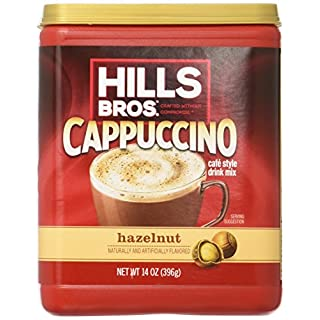Hills Bros. Instant Cappuccino Mix, Hazelnut Cappuccino Mix – Easy to Use, Enjoy Coffeehouse Flavor from Home – Frothy, Decadent Cappuccino with a Smooth Hazelnut Flavor (14 Ounces, Pack of 6)