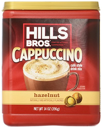 - Hills Bros. Instant Cappuccino Mix, Hazelnut Cappuccino Mix – Easy to Use, Enjoy Coffeehouse Flavor from Home – Frothy, Decadent Cappuccino with a Smooth Hazelnut Flavor (14 Ounces, Pack of 6)