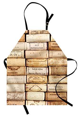Lunarable Winery Apron, Different Wine Corks Arranged in a Line Collections French Aged Fine Wine Art, Unisex Kitchen Bib Apron with Adjustable Neck for Cooking Baking Gardening, Ivory Pale Brown -