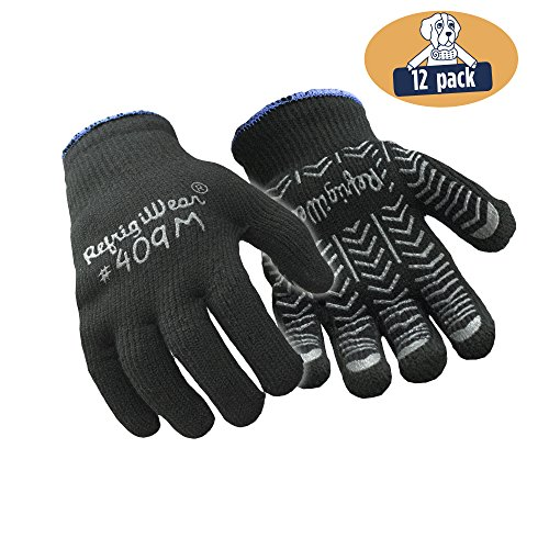 RefrigiWear Heavyweight PVC Palm Coated Herringbone Grip Knit Work Gloves, Pack of 12 Pairs (Black, (Heavyweight Terry Gloves)