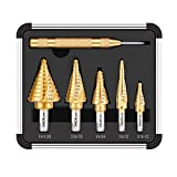 TACKLIFE Step Drill, PSD4 Titanium Coated Spiral Grooved Pagoda Drilling, Automatic Center Punch, Carbide Tipped Bit, Laser Marking, X-Shaped Mouth, Aluminum Case Included