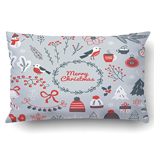 Emvency Pillowcases Xmas Dec Snowman Berry Branches Bullfinch Ball Garland Wreath Bell Bow Poinsettia Acorns Fir Mittens Snowflakes Pillow Case Cushion Cover Case Throw Pillow Case Lumbar 20x30 (20 Snowman Wreath)