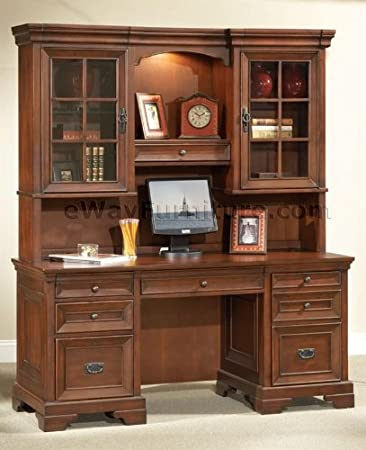 warm cherry executive home office credenza and hutch