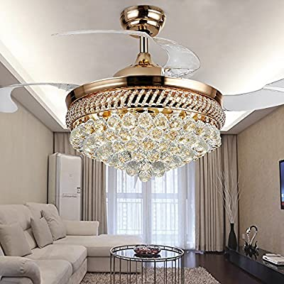 COLORLED Modern Crystal Remote Control Transparent Acrylic Blade Retractable Ceiling Fan Lamp 42-inch Lighting Fan Chandelier Led Lights Fixture