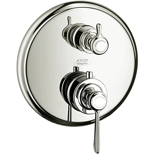 AXOR 16821831 Montreux Thermostatic Trim with Volume Control and Diverter Lever Handle, Polished Nickel