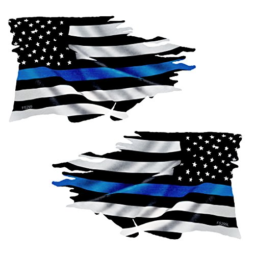 (Thin Blue Line Tattered Flag Sticker