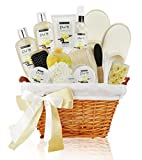 Premium Extra Large Deluxe Bath & Body Gift Basket. Sandalwood Vanilla Aromatherapy Spa Basket for Him & Her. Best Gift Baskets for Men- Boyfriend Gift, Husband Gift etc!