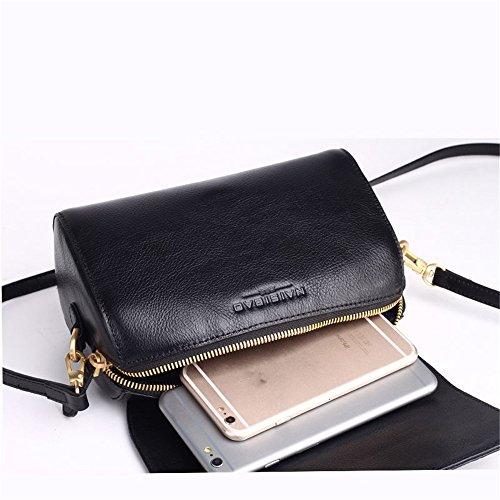 Simple Messenger Bag Sac Retro rétro Loisirs carré en bandoulière à Noir gaufré Cuir 0qzTp0