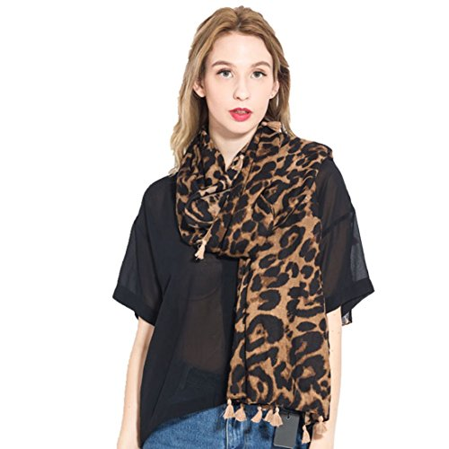 TOURME Women's Fashion Long Scarves Leopard Print Scarf Lightweight Shawl Wraps - Cotton Scarf Prints Linen