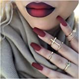 Drecode Fake Nails Matte Wine Red Full Cover Acrylic False Nails Coffin Shape Punk Fashion Party Clip on Nails for Women and Girls(24Pcs)