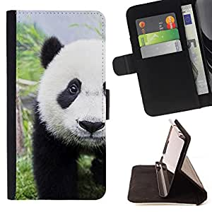 Super Marley Shop - Leather Foilo Wallet Cover Case with Magnetic Closure FOR Apple Iphone 5C- Panda Cute Face