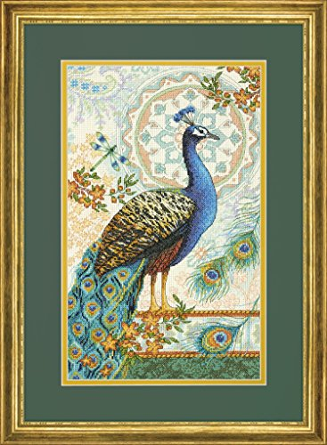 Peacock Cross Stitch - Dimensions Royal Peacock Gold Collection Counted Cross Stitch Kit, Multi-colour