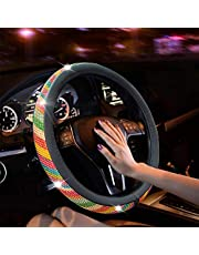 New Diamond Leather Steering Wheel Cover with Bling Bling Crystal Rhinestones, Universal Fit 15 Inch Car Wheel Protector for Women Girls…