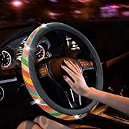 New Diamond Leather Steering Wheel Cover with Bling Bling Crystal Rhinestones, Universal Fit 15 Inch Car Wheel