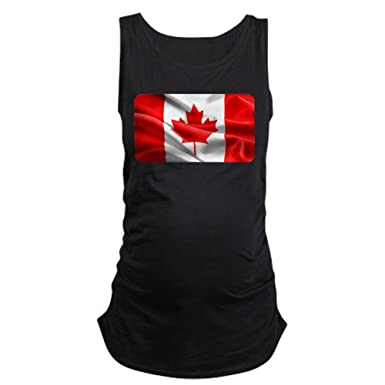 44db61bcef38b Royal Lion Women's Maternity Tank Top Dk Resplendent Canadian Canada Flag -  Black, Small