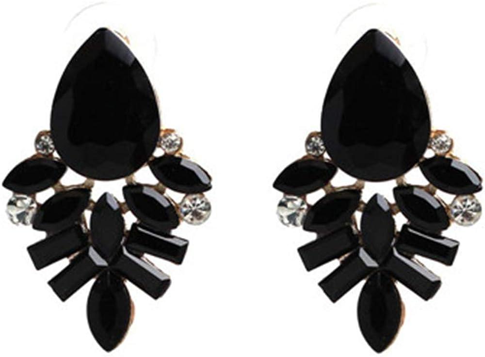 ZZHH Pendientes Pendientes de moda Pendientes de diamantes de imitación de metal dulce y piedras preciosas Pendientes de mujer Pendientes de cristal al por mayor