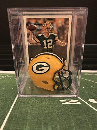 Helmet Aaron Rodgers - Green Bay Packers NFL Helmet Shadowbox w/ Aaron Rodgers card