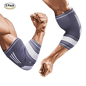 Liveup SPORTS 1 Pair Elbow Brace, Compression Elbow Adjustable Support Sleeve for Tendonitis Bursitis Tennis Golf Weightlifting Elbow Treatment, L