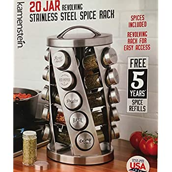 a95cc56188 Contemporary Spice Rack Stainless Steel 20 Jars Revolving Rack for Easy  Access
