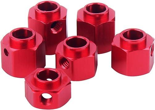 INJORA RC Hexagonal 12mm Rueda Hex 4pcs Metal Adaptador Set para 1/10 RC Crawler Traxxas TRX4 TRX-4 (Rojo, 12mm)