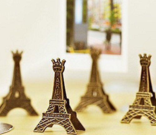 5 pcs/pack Effiel Tower Paris Metal Paper Clips Holder for Memo, Message, Decoration, Photo by Jalaya