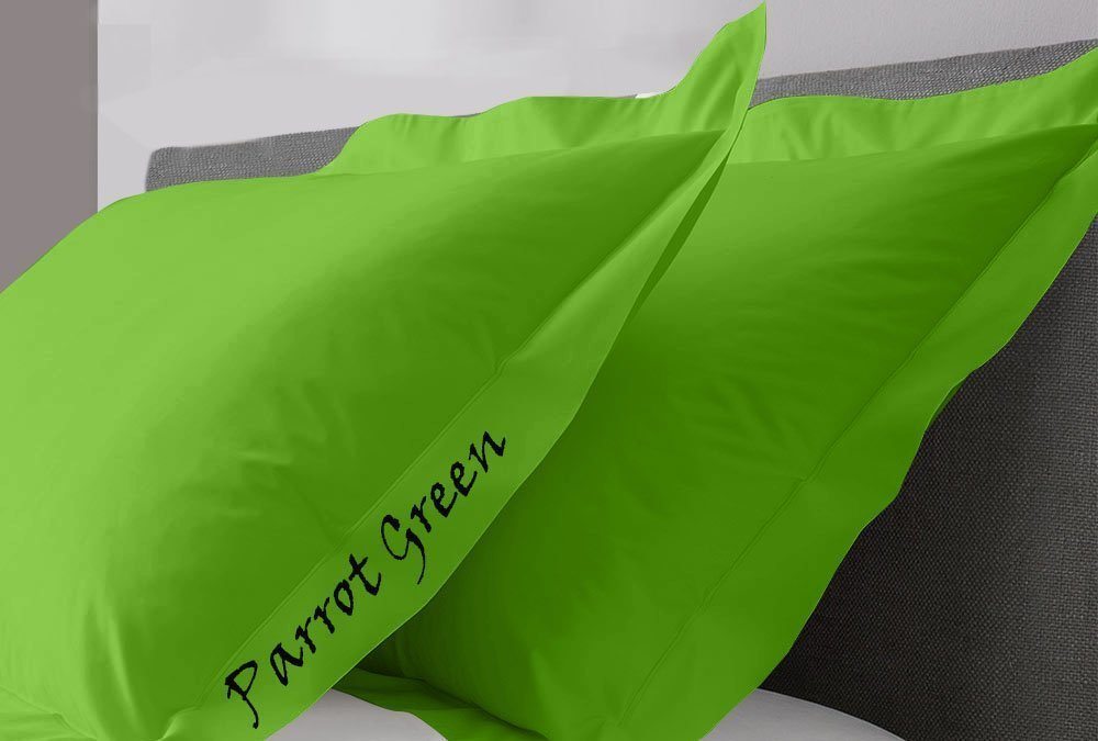 Sateen Solid Premium Quality Egyptian Cotton 1200 Thread Count 2 PC Pillow Shams Super King Size 20'' x 36''(Inches) -Parrot Green Solid, (51 cm x 91 cm) by Måløv Linen
