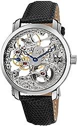 Akribos XXIV Men's AK406SS Bravura Davinci Mechanical Stainless Steel Watch with Black Leather Band