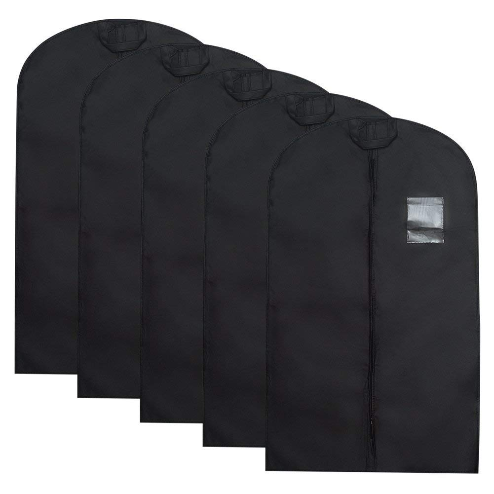 Tebery 5 Pack Breathable Garment Bag Covers with Clear Window, Black Suit/Dress Bag