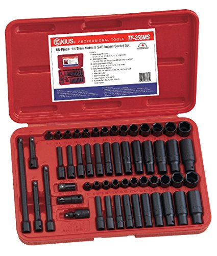 Genius Tools 55 Piece 1/4 Dr. Metric & SAE Impact Socket Set TF-255MS (Hex Wrench Inch Impact 16)