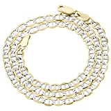 10K Yellow Gold 4.5mm Diamond Cut Mariner Chain Necklace Lobster Clasp