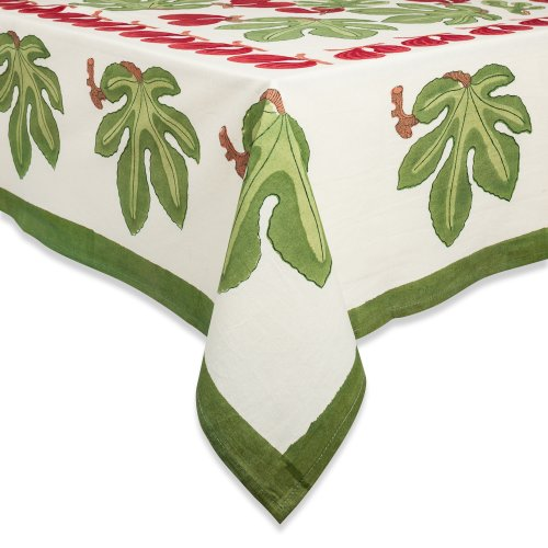 Couleur Nature 71-inches by 128-inches Fig Tablecloth, Red/Green by Couleur Nature