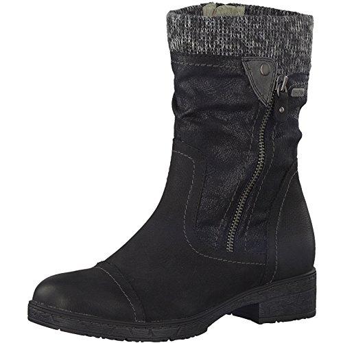 Damen Stiefel schwarz JANA TEX aus Leder von Größe 36-42 in Weite-H Schwarz