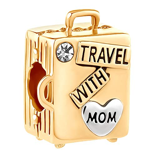 Lifequeen Travel with Mom Charms Suitcase Charm Beads for Snake Chain Bracelets (Gold Plated)