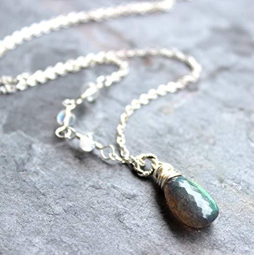 Rainbow Labradorite Pendant - Labradorite Necklace Sterling Silver Rainbow Moonstone Beads Gray and White Gemstones
