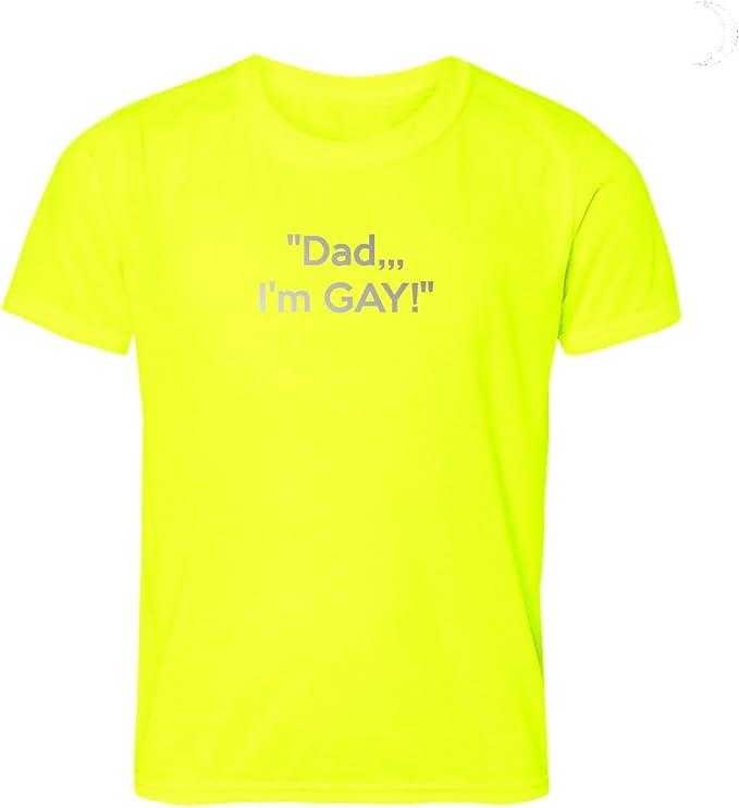 Dad camiseta de I m Gay LGBT Gay Pride Top graciosa Coming Out frase en reflectante texto letras: Amazon.es: Deportes y aire libre
