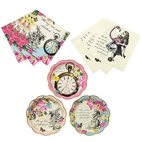 Talking Tables Alice In Wonderland Bundle for Parties/Weddings | Designer Mad Hatter Tea Party Plates & Alice Luncheon and Cocktail Napkins -
