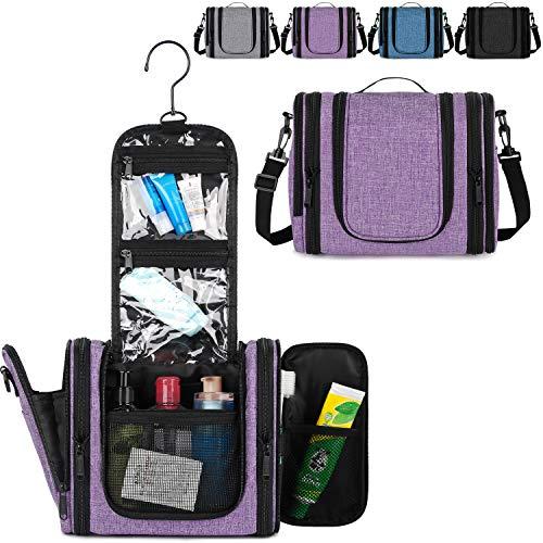 WANDF Expandable Toiletry Bag Dopp Kit TSA Approved Bottles Water Resistant (Purple-Cationic)