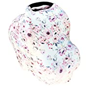 Carseat Canopy - 5-in-1 Breastfeeding Cover, Shopping Cart Cover, Baby Car Seat Cover - Watercolor Floral